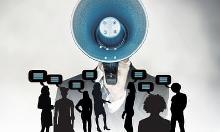free speech illustration: megaphone drowning out other voices