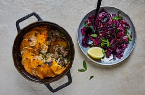 Jasmine Hemsley's finely balanced pink pepper lamb hotpot with sautéed red cabbage and mint
