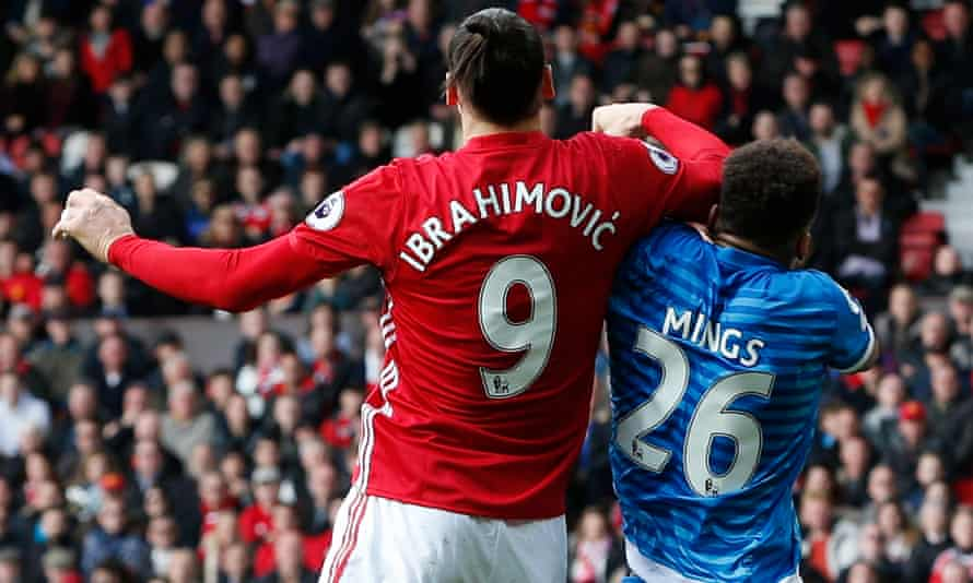 Bournemouth's Tyrone Mings is elbowed by Manchester United's Zlatan Ibrahimovic at Old Trafford last weekend.