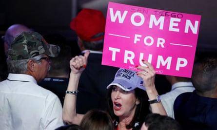 A female Donald Trump supporter during election night in New York City.