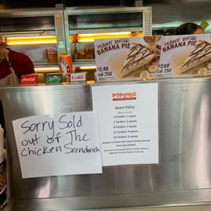 A sign at a Popeyes in Oakland announced the news: sold out.