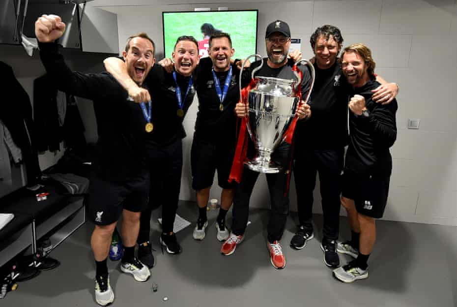 Pep Lijnders (second left) celebrates the European Cup win over Spurs with Jurgen Klopp and other members of the Liverpool coaching staff