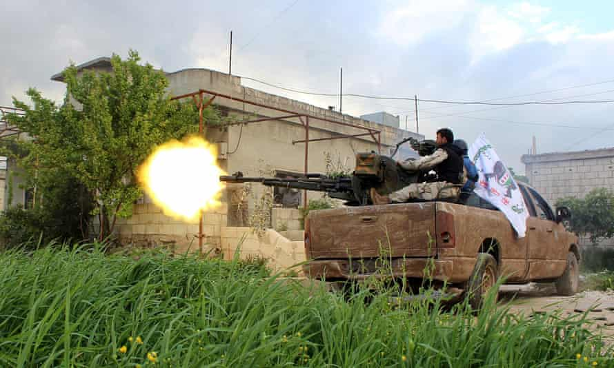 Syrian opposition forces in Hama in April.