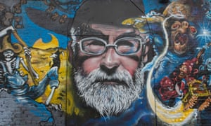 "'The opposite of funny is not funny"" ... a Terry Pratchett mural painted in tribute to the late author in an east London alley."