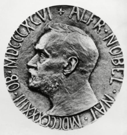Nobel Peace Prize Medal bearing the likeness of Swedish chemist and engineer Alfred Nobel.
