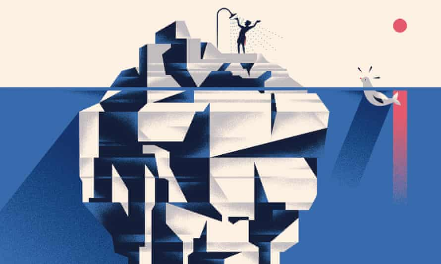 Illustration of a person taking a shower on an iceberg by Michele Marconi