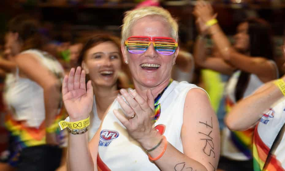 Participants are seen taking part in the 38th annual Gay and Lesbian Mardi Gras parade, in Sydney, Saturday, March 5, 2016. Organisers say this year's parade will involve 10,000 participants and over 170 floats. (AAP Image/Dan Himbrechts) NO ARCHIVING