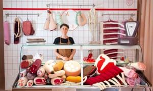 Silvia Wald in Aufschnitt Berlin, her textile meat shop in Friedrichshain