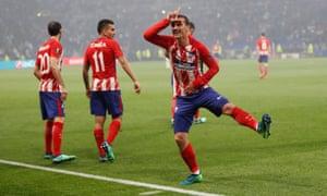 Atletico Madrid's Antoine Griezmann celebrates scoring their second goal.