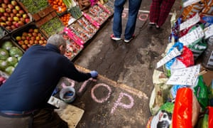 Physical distancing measures at a greengrocers in East Lothian, Scotland.