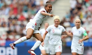 Nikita Parris of England celebrates after scoring her team's first goal.