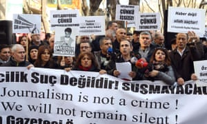 Turkish journalists demonstrate in support of jailed colleagues in Ankara in January.