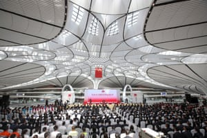 People attending the launch ceremony for the new Beijing Daxing international airport in Beijing.