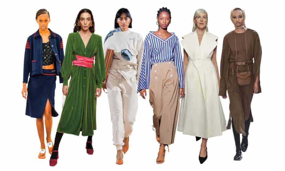 A composite of images of models wearing the looks of the 2021: the smart cardigan, Miu Miu; the 18-hour dress, Vernisse; the sweatpants, Y Project; the Saturday-morning blouse, Adeam; the grown-up flat shoe, Max Mara; the toffee-coloured bag, Emilia Wickstead.