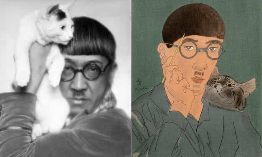 Tsuguharu Foujita photographed in 1927, and a self-portrait from the same year