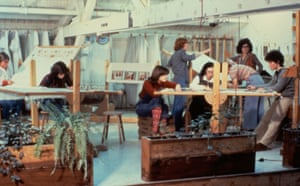 Judy Chicago and Others Working on The Dinner Party at the Needlework Loft in 1978.