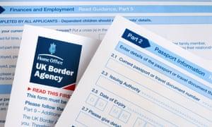A UK Border Agency visa application form