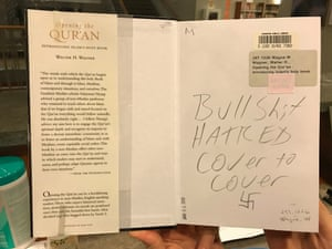 A photo posted by Evanston public library librarian Lorena Neal. The library filed a police report and they reported the incident to the Southern Poverty Law Center for their database on hate crimes.