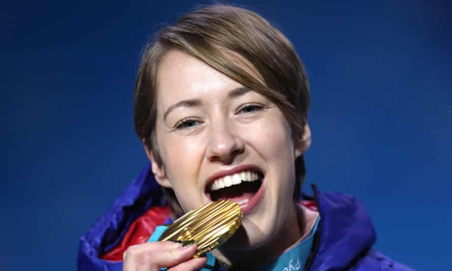 Lizzy Yarnold with her gold in Pyeongchang – the 29-year-old wants to take some time out but won't rule out a tilt at a third Olympic gold in Beijing in 2022.