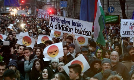 Students protest against Hungarian government's education policy in Budapest.