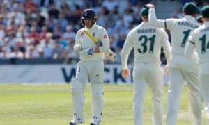 England's Jason Roy heads back to the pavilion after losing his wicket.