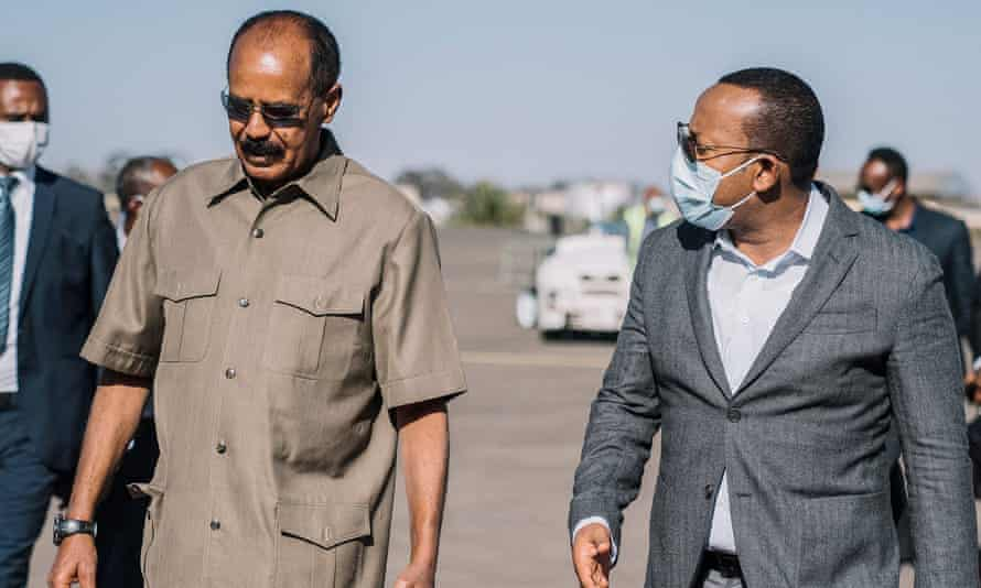 Ethiopia's prime minister Abiy Ahmed, right, and Eritrea's President Isaias Afwerki at Asmara airport last week.