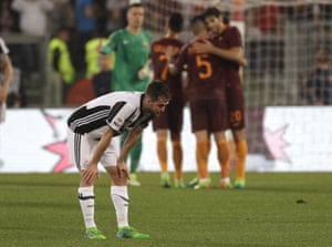 Juve's Miralem Pjanic reacts at the end of the game.