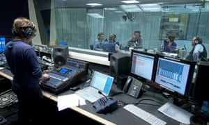 A podcast being recorded in the Guardian audio studios.