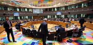 Eurogroup Finance Ministers meeting on Italy's new budget plans held in Brussels.