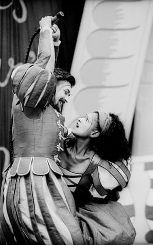 Geordie Johnson as Petruchio and Cathy Tyson as Kate in The Taming of the Shrew.