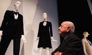 Pierre Bergé at an Yves Saint Laurent exhibition