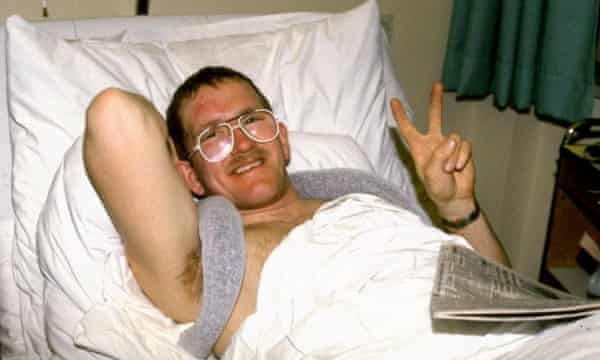 Recovering in hospital after a 1988 crash.