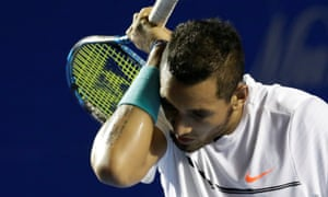 Nick Kyrgios during his defeat to Sam Querrey at the Mexican Open in Acapulco on Saturday.