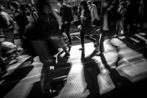 Commuters at Shibuya train station
