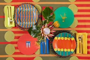Yinka Ilori's new homewares including the Aami Aami dinner plate, Omi dinner plate, the Parable place mats and the Aami Aami tablecloth