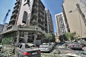 A view of damaged buildings
