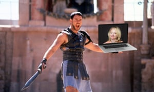 Russell Crowe as gladiator holding a laptop with Brigid Delaney on it