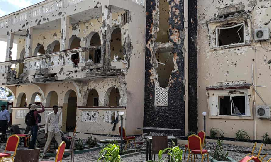 The scene of a suicide bombing and shooting at a hotel in Kismayo, Somalia