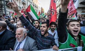 Protesters hold Palestinian and Turkish flags and shout slogans against Israel during a demonstration in Istanbul, Turkey Anti-Israel protest, on Monday.