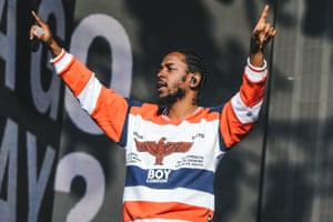 Kendrick Lamar performing in Hyde Park, London, in 2016.