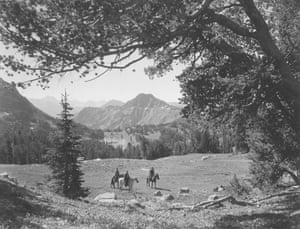 Wounded Man Lake from a point near Rainbow Creek Divide, now within the Absaroka-Beartooth Wilderness. Custer National Forest, Montana, 1938.