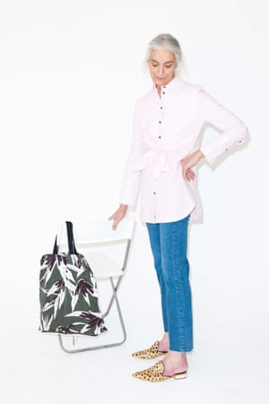 blue jeans mih, pale pink long sleeved shirt Warehouse, animal print shoes, yellow and white, River Island, green, white and black print patterned bag Marni
