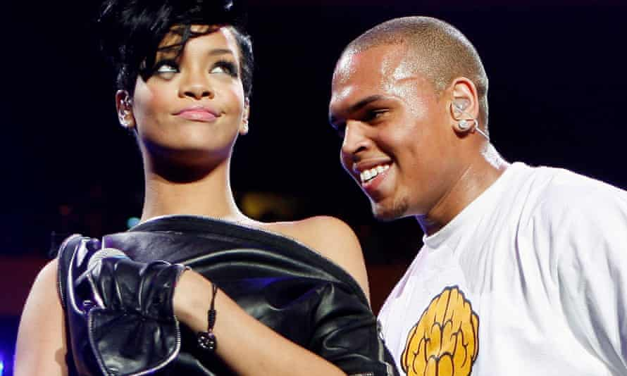 Rihanna and her then boyfriend Chris Brown on stage in 2008, the year they made their relationship public. The following year Brown, 19, was charged with assaulting her.
