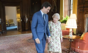 Justin Trudeau with the Queen at Holyrood