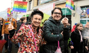 Olga Tokarczuk takes part in an equality march in Wrocław