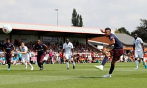 Pierre-Emerick Aubameyang scores for Arsenal in their 8-0 pre-season win over Boreham Wood last Saturday.