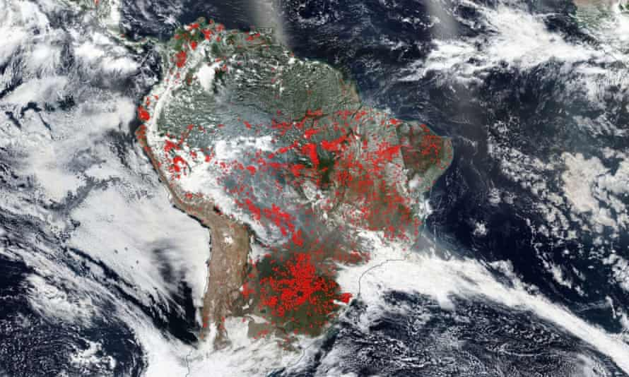 Wildfires in the South America including the Amazon rainforest of Brazil on 20 August.