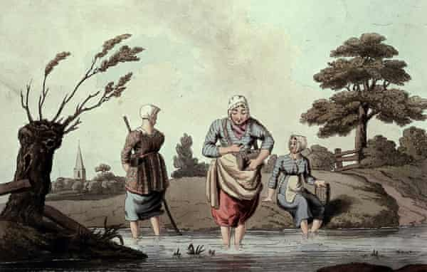 Three women wading in a stream gathering leeches. Coloured aquatint by R Havell, 1814, after G Walker.