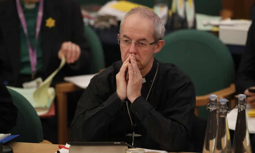 The archbishop of Canterbury, Justin Welby, at the General Synod in London.