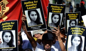 Protesters call for justice for Jennifer Laude, a transgender woman who was murdered in the Philippines.